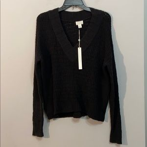 NWT Caslon Black Vneck Knit Sweater Size M Cotton